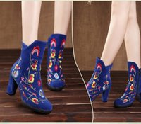 Wholesale Taiwan Winter Fashion - New winter high-heeled boots national wind retro embroidered fashion shoes waterproof Taiwan thick with Martin boots snow boots