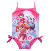девочки-танкини оптовых-Wholesale- Girl Kids Swimsuit Cartoon Bathing Suit Print Children Swimwear Bikini Tankini Baby Girl Summer Swimming Costume CU934913