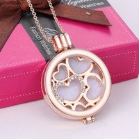 Wholesale 14k Gold Heart Locket - DIY Aromatherapy Essential Oil Diffuser Necklace Jewelry Alloy Material Locket My Coin Rhinestone Crysal Heart Love Pendant Necklace