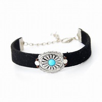 Wholesale Genuine Turquoise Jewelry Wholesale - Handmade Braid Vintage Black Coffee Genuine Leather Bracelet for Woman Femme Bracelet Men Turquoise Charm Bracelets Bangles Jewelry CXB039