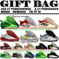 Wholesale Soccer Indoor Shoes Messi - Football Boots High Tops Indoor IC TF ACE 17 Purecontrol X 16 Purechaos FG Messi Nemeziz Soccer Shoes Predator Mania Champagne Soccer Cleats