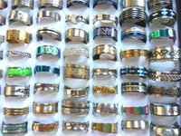 Wholesale Gold Ring Punk - Wholesale 100 pcs mixed lots stainless steel rings fashion jewelry party weeding ring free shipping Punk Vintage random style