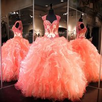 Wholesale Girls Dresses 15 Years - Coral Ball Gowns Quinceanera Dresses for Girls 2017 Sweet 15 16 Year Illusion Lace Organza Puffy Sweetheart Floor Length Prom Gowns