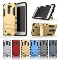 Wholesale Iphone G Cases - Slim Hybrid Iron Man Shockproof Armor Rugged Kickstand Case For LG G4 G4 Note G5 G Stylus Stylo LS770 Leon C40 K10 K7 V10 Class ZTE Axon