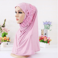Wholesale Embellished Lace Headband - Flower Muslim Hijab With Crystal Fashion Girl Headband Pashmina, Colorful Autumn Winter Shawl Stoles Muslim Scarf