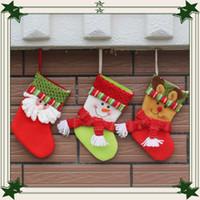 small gift оптовых-2016 новые рождественские чулки санта-клаус висят маленькие носки хлопка подарочный пакет конфеты мешок рождественские украшения