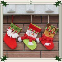 Wholesale Christmas Decoration Hanging Santa - 2016 new christmas stockings Santa Claus hang small socks cotton Gift bag candy bag Christmas Decoration
