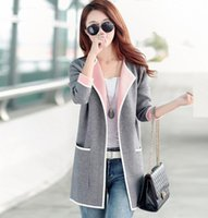 Wholesale Womens Grey Winter Coats - 2016 New Long Autumn Winter Womens Slim Coat Korean Fashion Casual Fall Slim Grey Pink Jacket Cardigan Sweaters Coats