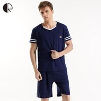 мужские рубашки оптовых-Wholesale-Men T Shirt 100% Cotton Pajama Set Sleepwear Sexy Mens Underwear Tees Undershirts Tshirts  Casual Short Sleeve Boxers AP353