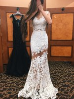 Appliques Lace Scoop Mermaid Party Gowns Sexy See Through Evening Dresses Sexy Mermaid Floor Length Тюль Аппликация Пром платье