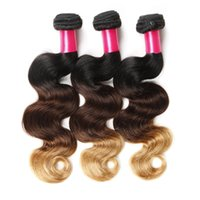 Wholesale Ombre Malaysian - 8A Ombre Hair Extensions 1b 4 27 Blonde Ombre Virgin Human Hair 3Pcs 100g pcs Three Tone Body Wave Hair Weave Brazilian Peruvian Malaysian