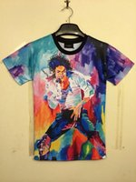 Wholesale Rock Roll Shirts - New Fashion men's 3d T-shirt print King of Rock and Roll Michael Jackson 3d t shirt for men Boy Tshirt Asia M L XL XXLC107