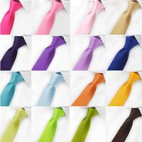 Wholesale Plain Skinny Ties - 2017 5cmx145cm Men Women Satin silk Tie ties Skinny Solid Color Plain Polyester Necktie Neck Ties 30 colors Fashion A1020076