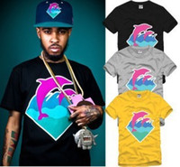 Wholesale Chinese Size S XXXL piece retail tee pink dolphin o neck dolphin print t shirt hip hop clothes big bang color free ship