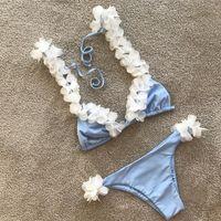 Wholesale Micro Bikinis For Women - pinup white flower bikini set for women girls cute light blue swimsuit print bandage vintage micro swimwear biquini 2017 S M L bathing suit