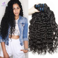 Wholesale 28 Water Wave Hair Extension - Brazilian Wet and Wavy Hair 4 Bundles Brazilian Water Wave Virgin Human Hair Bundles Brazilian Water Wave Curly Weave Hair Extensions