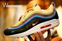 Wholesale Yellow Corduroy Fabric - new Air 97 Sean Wotherspoon Running Shoes Top Quality 97 Mens women Symphony corduroy yellow blue Outdoor Sports Shoes 36-46