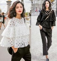 Wholesale Lace Long Sleeved Loose Top - Autumn 2016 New Women Casual Shirt Round Neck Lotus Sleeve Loose T-shirt Tops Fashion Lace Long-Sleeved T-shirt Blouse