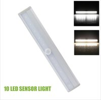 Wholesale Step Bars Wholesale - Super bright 10 LEDs Motion Sensor Closet Cabinet LED Night Light Cool   Warm White Battery Operated Step Light Bar With Magnetic Strip