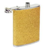 Wholesale Gold Alcohol - Wholesale-8oz Gold Tone Stainless Steel Hip Flask Alcohol Wine Liquid Whiskey Containers
