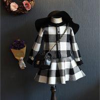 Wholesale Great Kids Clothes - New Little Girls Autumn Knit Set Plain Cardigan Grid Checks Coat Skirt Sets 2 pieces Pullover Jumper Great Children Dress Kids Clothes