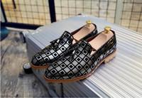 Wholesale Golden Medium Heel Shoes - 2016 New style Party wedding Shoes British Style dress shoes Business dress stylist slip-on shoes Golden leisure breathable men's shoes XX91