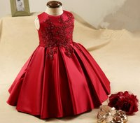 Wholesale Lace Satin Vest - Lovely RED Lace Satin Flower Girl Dresses sleeveless Lace Floor Ball Gown Little Girl Dresses For Weddings Party Prom