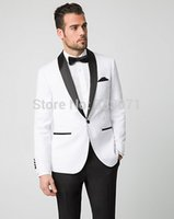 Wholesale Men S Attire - Wholesale- Tailor Made White Groom Tuxedos Black Shawl Lapel Bridegroom Suit Slim Fit Mens Wedding Party Suits Groomsman Best Man Attire