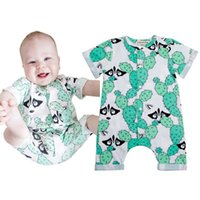 2018 Unisex Baby Summer Fox Casual Pagliaccetto neonato Toddlers Green Cactus Print Tuta Playsuit