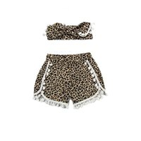 Wholesale Cheetah Sets - Animal cheetah printed baby girls short ,Pom girls short top knot headband toddler outfit ,little girls short with headband set
