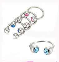 Wholesale double stud ring - 50pcs lot mix 10 color Body Piercing Jewelry stainless steel CBR ring double gem nose stud earring horseshoe 2016 Fashion Bijoux