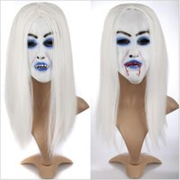 1PCS Scary Latex Mask Halloween Party Toothy Zombie Bride Avec cheveux blancs Horror Ghost Mask Prom Accessoires Fournitures