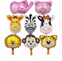 Wholesale Mini Monkeys - 50pcs lot Mini Balloon cartoon film tiger&monkey&zebra&deer&cow Animals Head Helium Foil Balloons Animal Air Balloon theme birthday