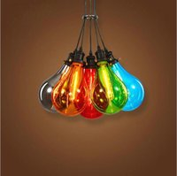 Wholesale Orange Color Kitchen - 2016 new Modern Glass Pendant Light Multiple Color Restaurant Creative Glass Bubble Pendant Lamp for Bar Home Decoration Lamp Lighting