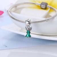 Wholesale Enamel Glitter - Real 925 Sterling Silver Tinker Bell's Dress Dangle Charm, Glittering Green Enamel Fit Original Bracelet Diy Jewelry Making