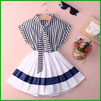 Wholesale Navy Stripes Dresses Baby - fashion new arrival stripes navy sleeveless summer baby dresses sailor collar white vestidos high quality factory prices fast free shipping