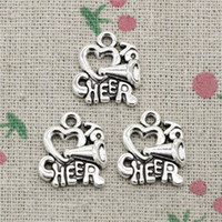 Wholesale Cheer Necklaces - 72pcs Charms cheer love cheerleading 17*16mm Antique Silver Pendant Zinc Alloy Jewelry DIY Hand Made Bracelet Necklace Fitting