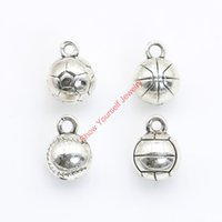 Wholesale Volleyball Charms - Wholesale-10pcs Tibetan Silver Plated 3D Football Basketball Volleyball Charms Pendants for Jewelry Making DIY Handmade Craft 13x10mm A123