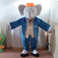 traje de elefante azul venda por atacado-100% foto real de novo traje de mascote Mr. elephant com terno azul para adultos para venda
