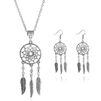 Wholesale Leaf Catcher - 2016 Fashion Jewelry Sets Antique necklace and earrings Chain Silver Plated Stud Earrings Women leaf tassel dream catcher Collar