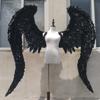 Wholesale black cosplay wings for sale - NEW Customized Black Devil angel wings Cosplay shooting display props stage Bar decoration Fashion accessories EMS