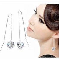 Wholesale Rhinestone Vintage Earrings Pierced - New Fashion Brand Aretes Rhinestone Piercing Dangle Earrings Vintage Crystal Party Linear Drop Earrings Wedding Ewelry Gold Earring Wedding