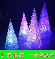 luz de flash rosa venda por atacado-Acrílico light-emitting árvore de natal a luz da noite das crianças flash lâmpada de cristal mercado da noite de natal brinquedos
