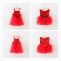 bebek kız tüyü tutu elbiseler toptan satış-Yeni bebek kız Noel dantel Tüy çiçekler elbiseler Santa kolsuz Sequins TuTu elbise çocuklar Büyük yay prenses elbise L001