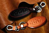 ingrosso chiave autentica di nissan-Portachiavi auto in vera pelle per il 2011-2013 2014 2015 Juke 3 pulsanti astuccio portachiavi con chiave intelligente Anello portachiavi Accessori per lo styling automatico