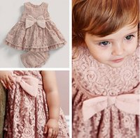 Wholesale Children Vest Fashion - Children outfits new baby girls bows full lace vest dress +pp shorts 2pcs sets baby kids summer clothing Fashion girls lace sets A8982