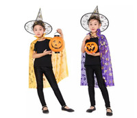 Wholesale kids wizard costume - 2017 Halloween Cloak Cap Party Cosplay Prop for Festival Fancy Dress Children Costumes Witch Wizard Gown Robe and Hats Costume Cape Kids