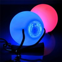 Wholesale Dancing Balls - Wholesale-Professional RGB LED Colorful Glow POI Thrown Balls Light Up For Belly Dance Level Hand Props Stage Performance Accessories
