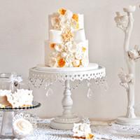 Wholesale Iron Plates Fruits - Free Shipping White Metal Iron Cake Stand Cake Pan Fruit Plate West Pallet Wedding Decoration Supplies