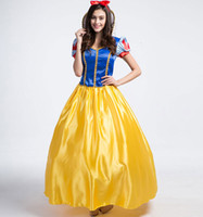Wholesale Plus Size Snow Clothes - Plus Size Snow White Costume For Girls Fairy Tale Cinderella Princess Long Dress Halloween Cosplay Party Dancing Clothing